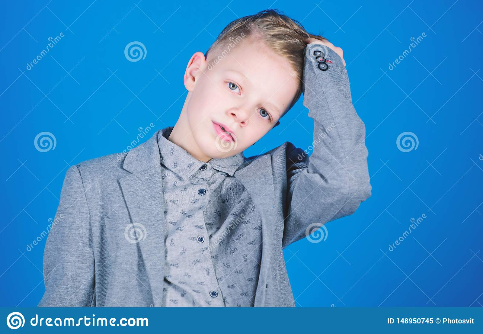 Boy Modern Hairstyle Wear Formal Style Suit Blue Background. Confident Guy Enjoy Fashionable ...