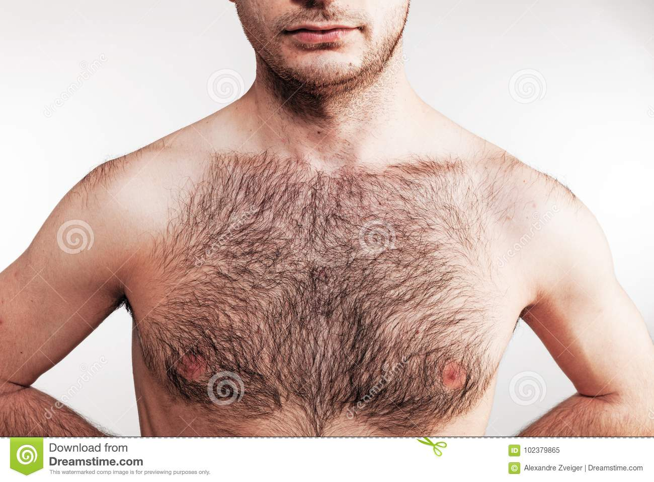 White hairy chest men