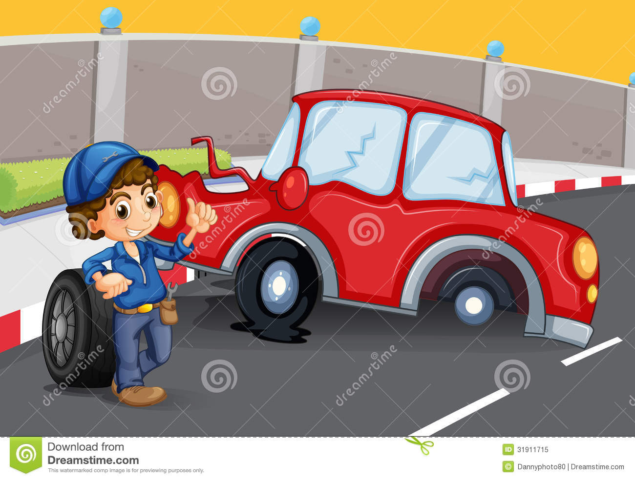 A Boy Near The Car Accident At The Road Stock Vector - Illustration ...