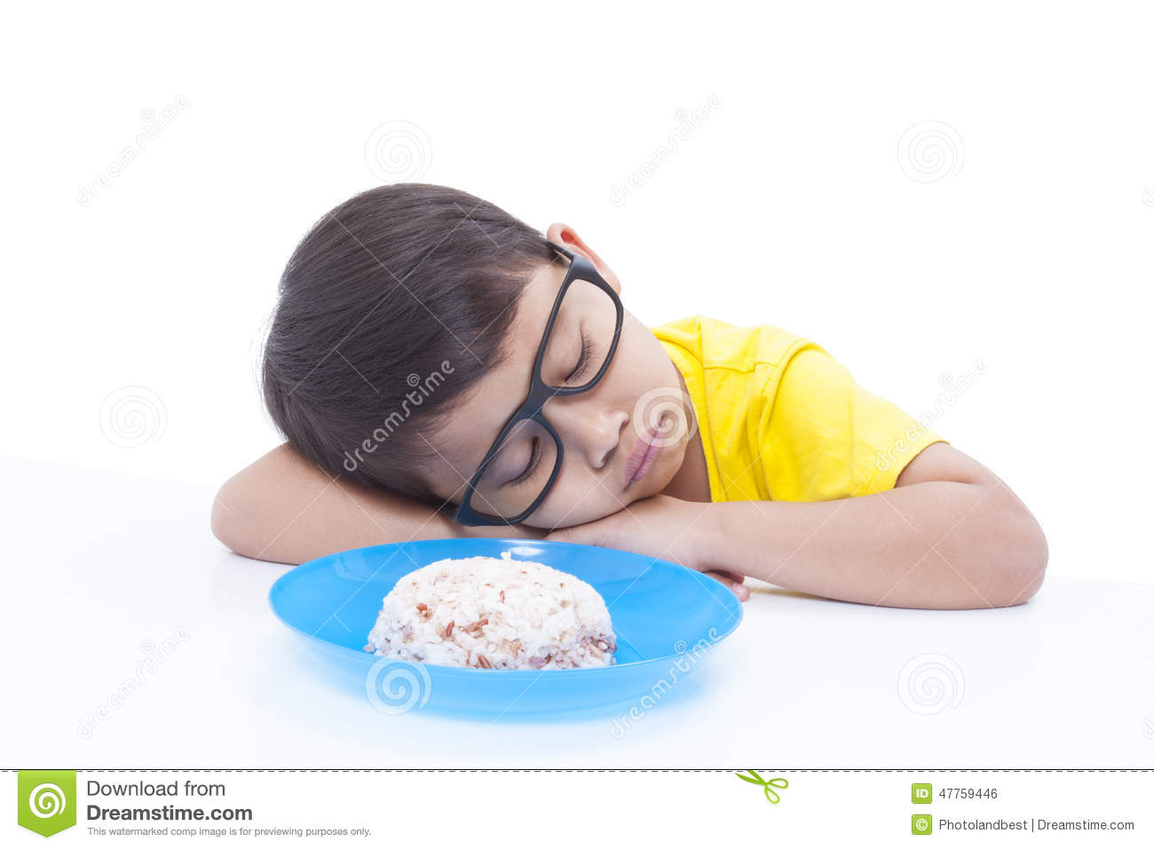 Download Boy not wanting to eat stock photo. Image of isolated - 47759446
