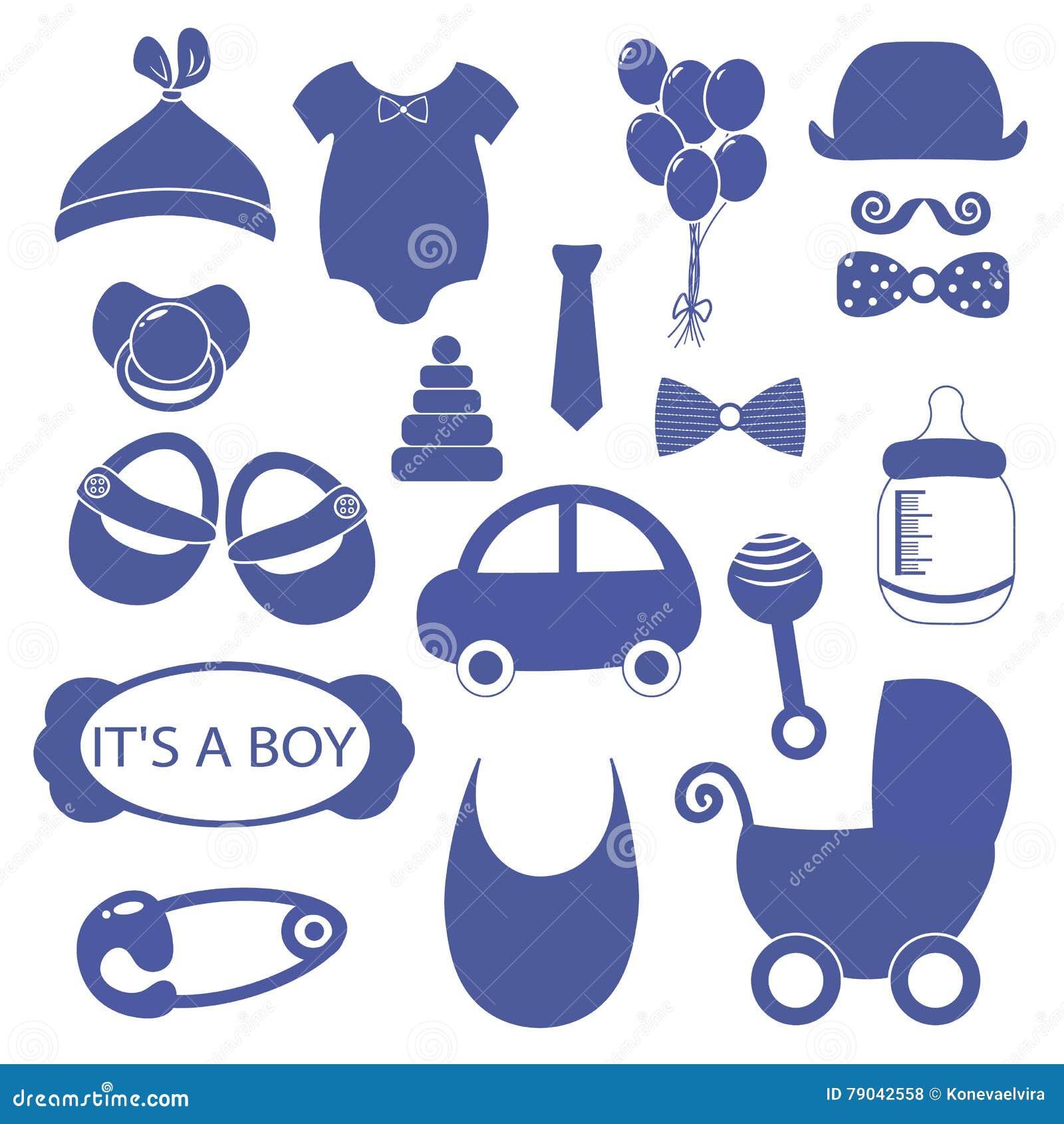 Boy 18 Objects Clip Art Set. Newborn, Essentials Shopping ...