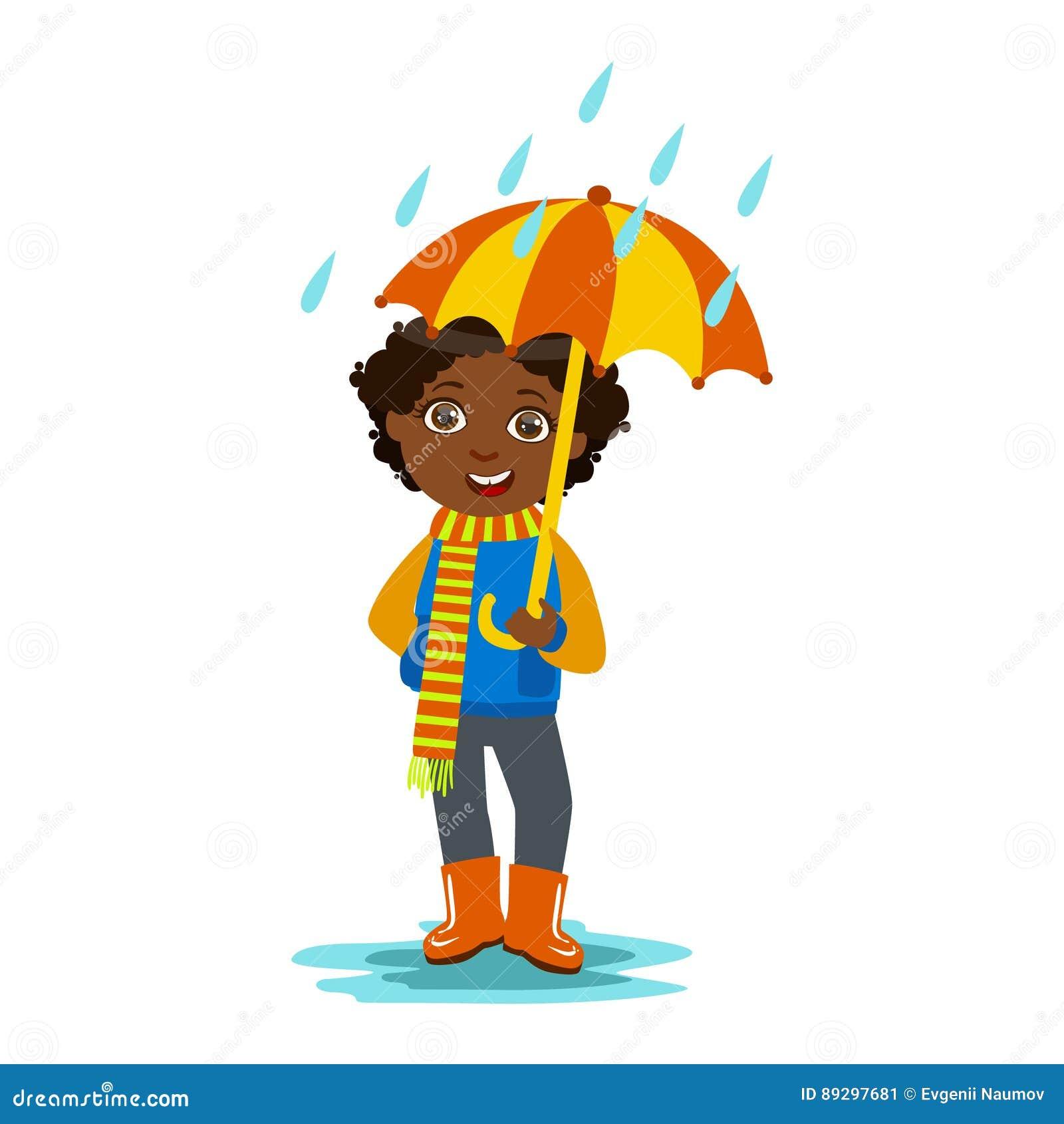 Boy With Open Umbrella Standing Under Raindrops, Kid In ...