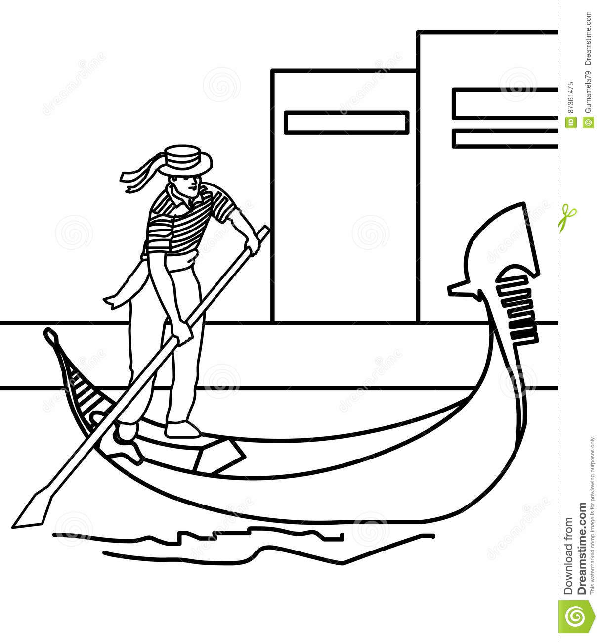 Boy Paddling A Boat Coloring Page Stock Illustration - Illustration ...
