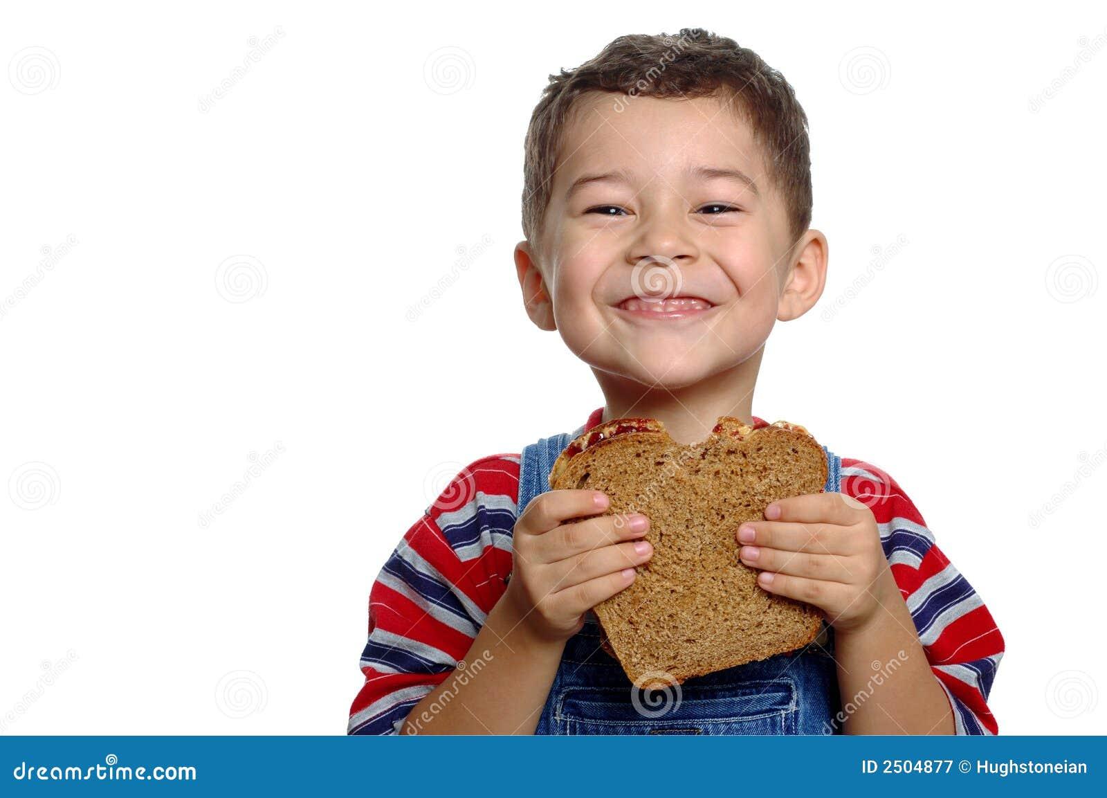 Boy and Peanut Butter Sandwich