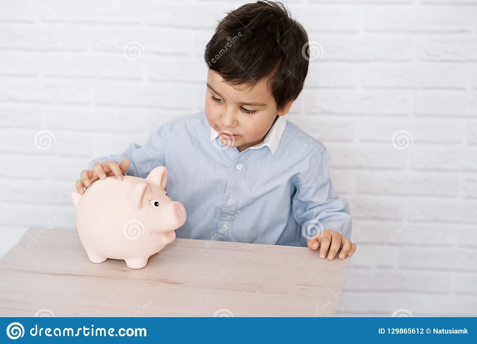 Boy With Pig Piggy Bank  Childhood, Money, Investment And