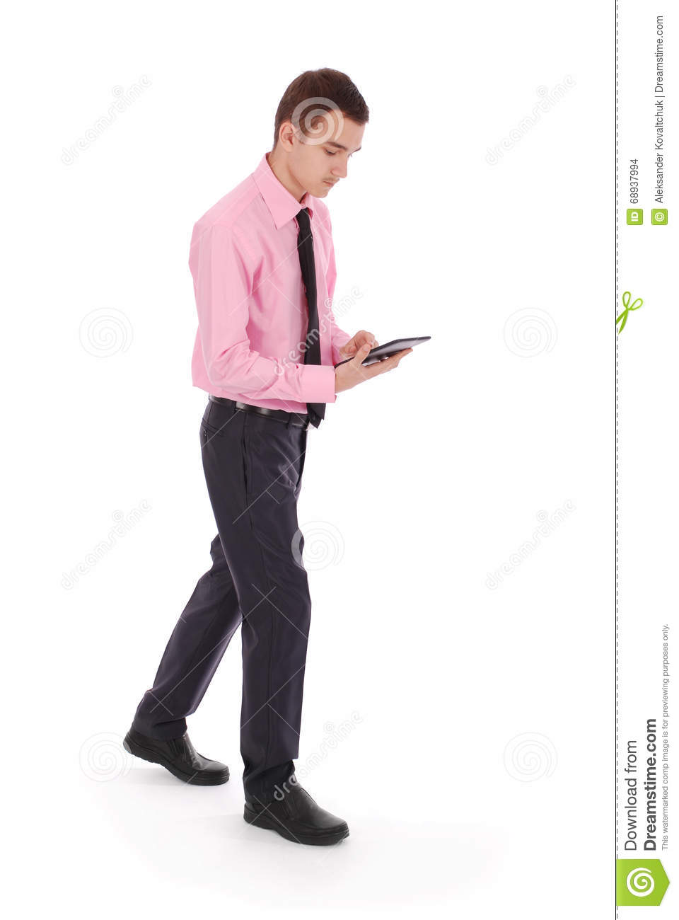 The Boy In A Pink Shirt Goes Holding Tablet PC Stock Photo - Image ...