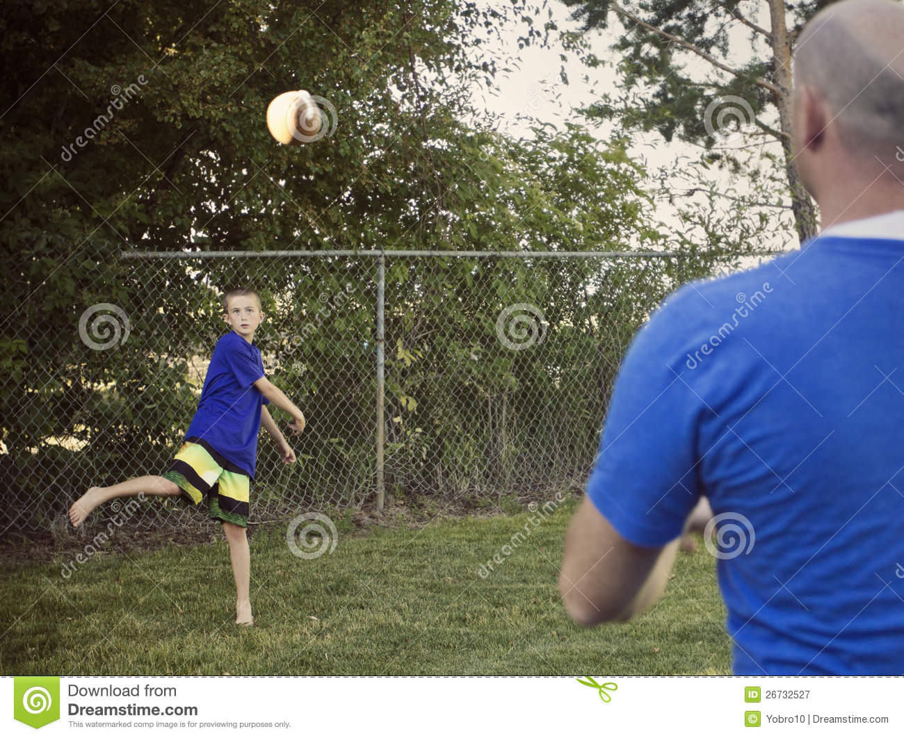boy playing catch with dad royalty free stock photography image
