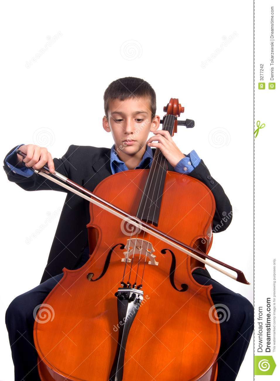 Young boy student practicing playing musical instrument Cello.