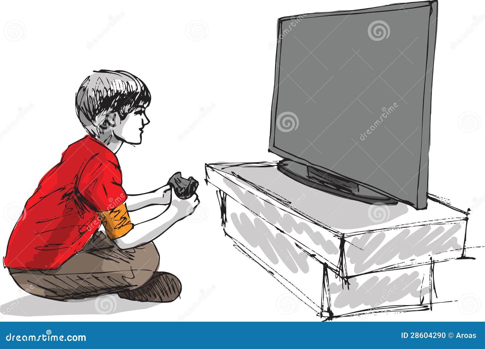 Boy playing computer game made in adobe illustrator
