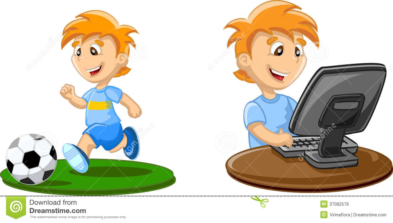 Boy Is Playing On A Computer Vector Royalty Free Stock