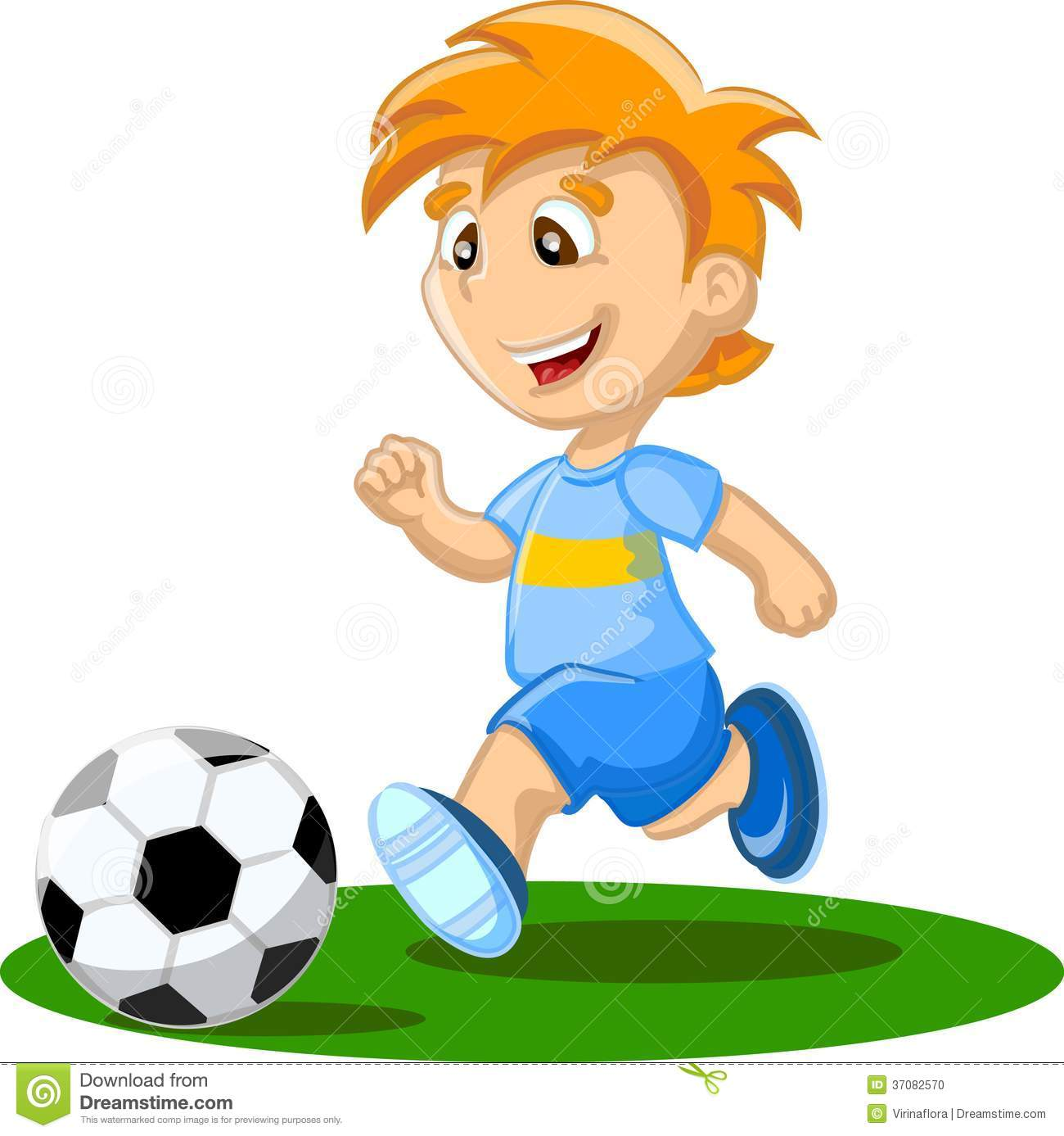 Boy Is Playing Football, Vector Stock Vector ...