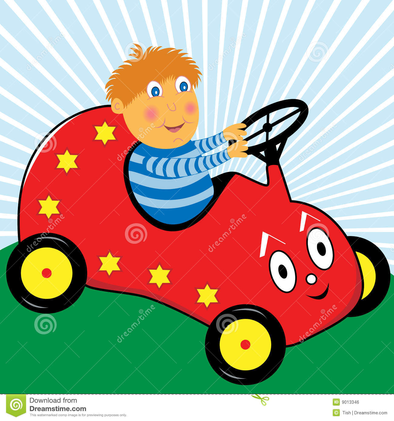 Boy Playing In His Cartoon Car Royalty Free Stock Image