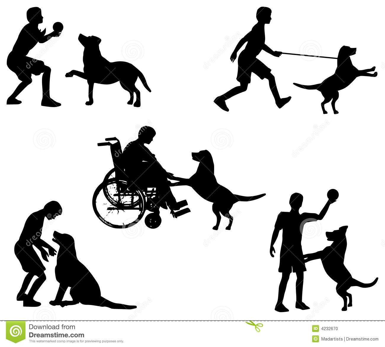 An illustration featuring 5 scenes depicting a boy playing with a dog ...