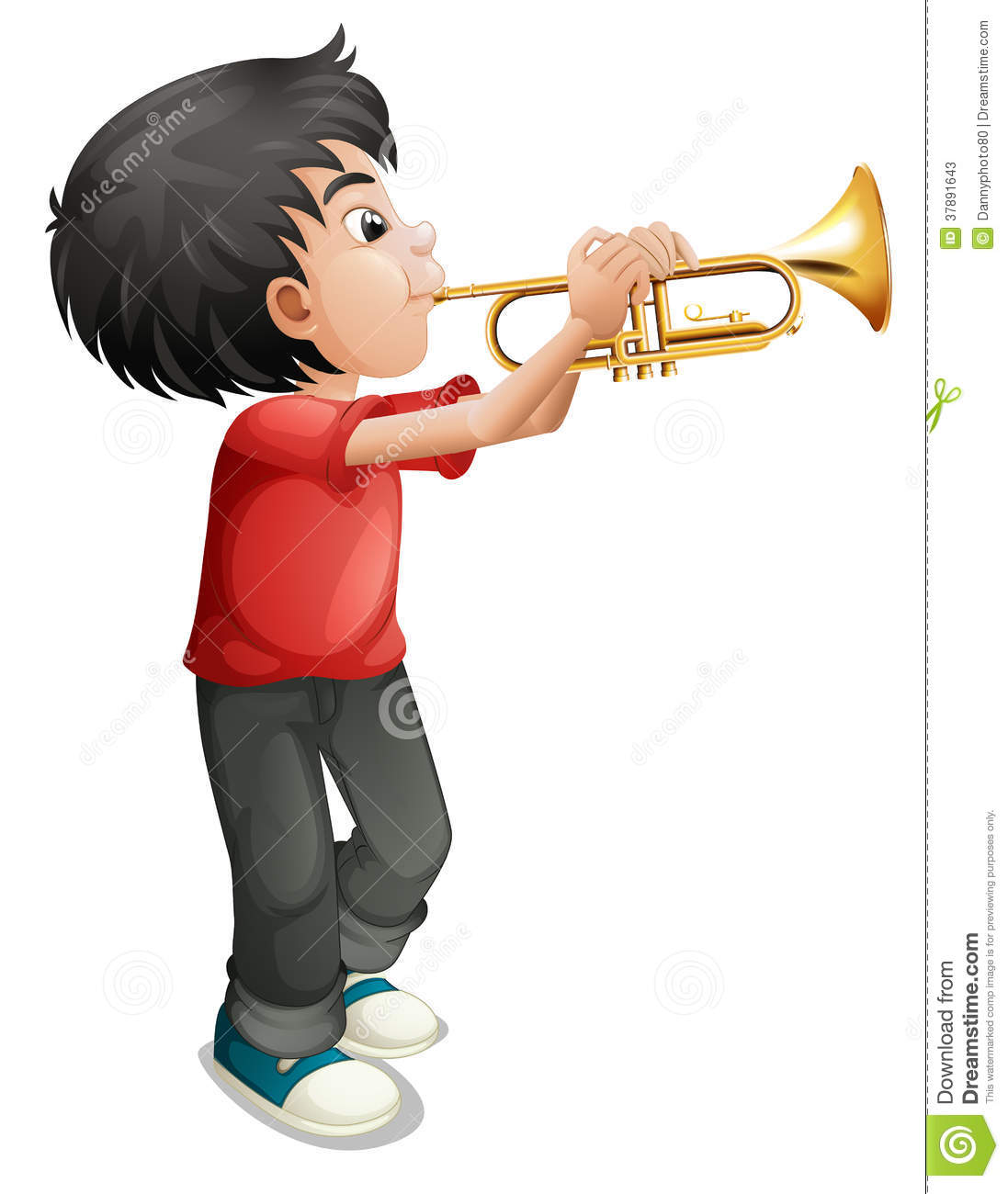 A Boy Playing With His Trombone Stock Photos - Image: 37891643