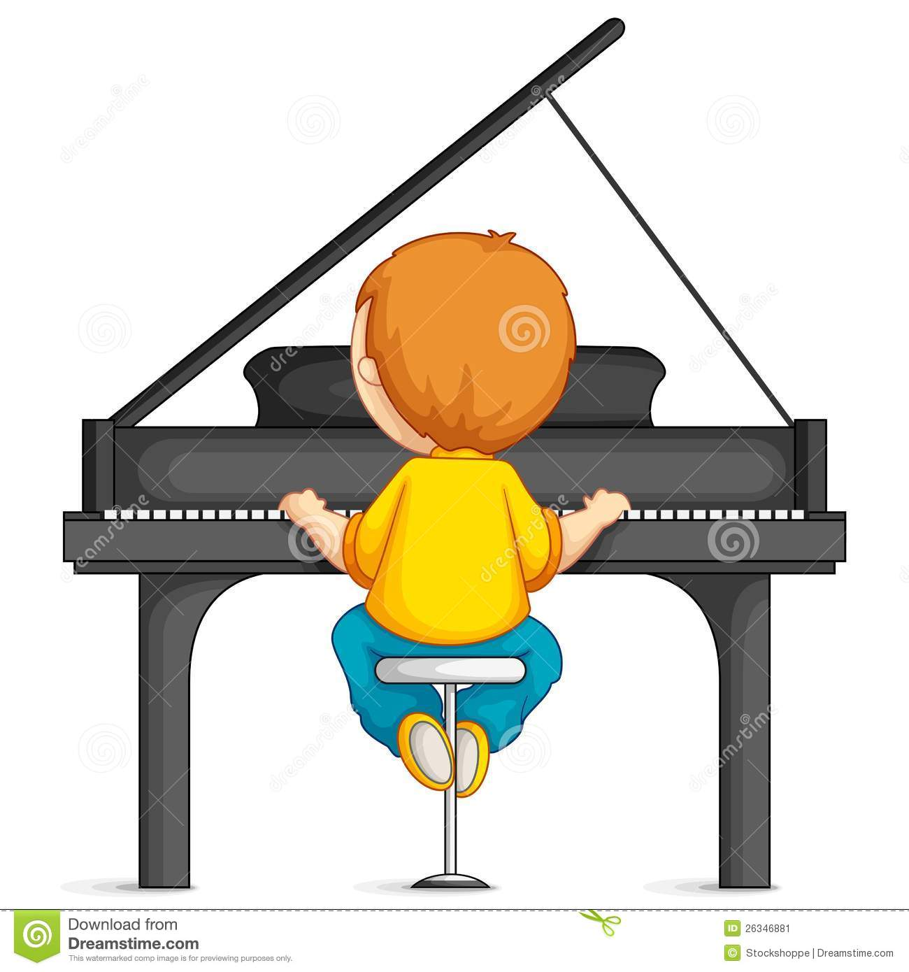 Boy Playing Piano stock vector. Illustration of people ...
