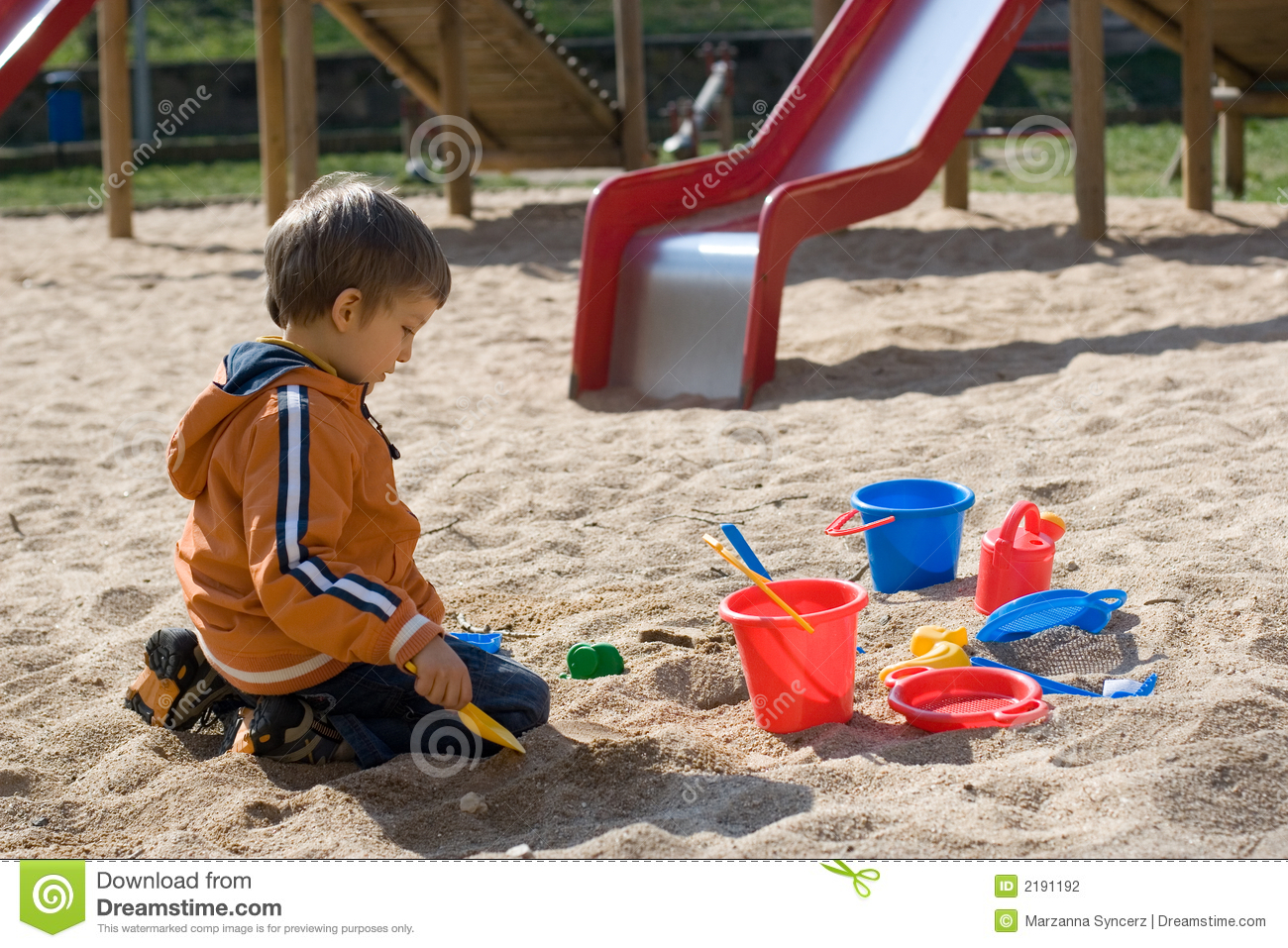 Boy Playing In Sand Box Stock Photography - Image: 2191192