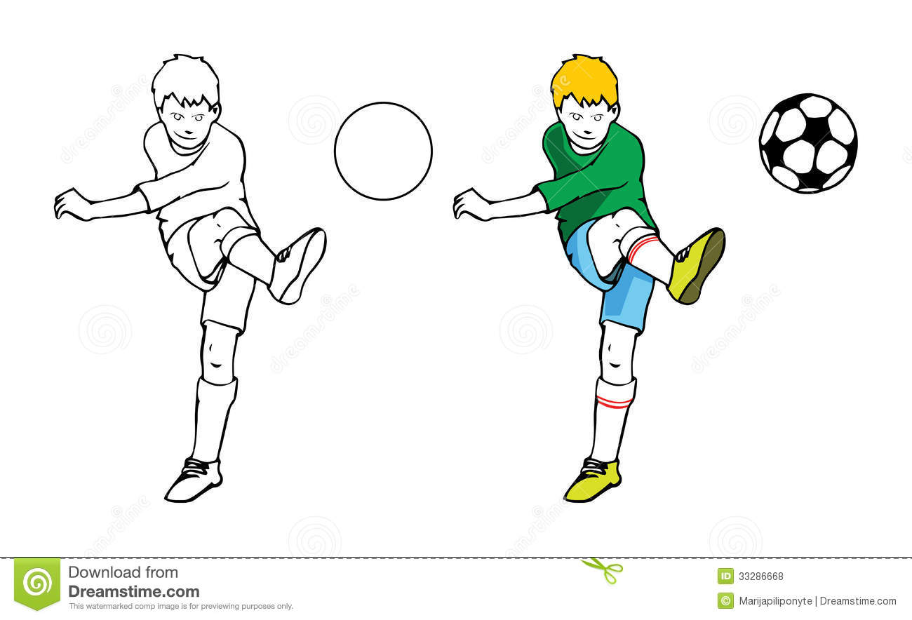 boy playing soccer stock illustration  image of striker