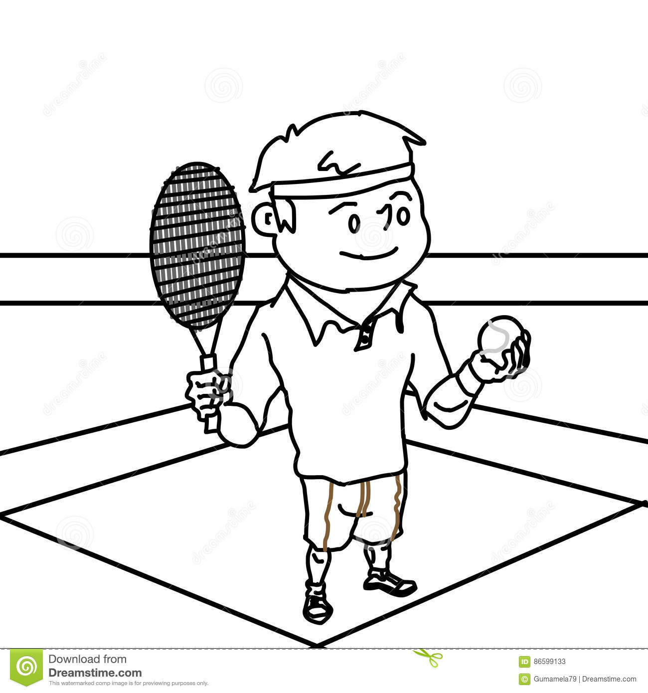 Boy Playing Tennis Coloring Page Stock Illustration - Illustration ...