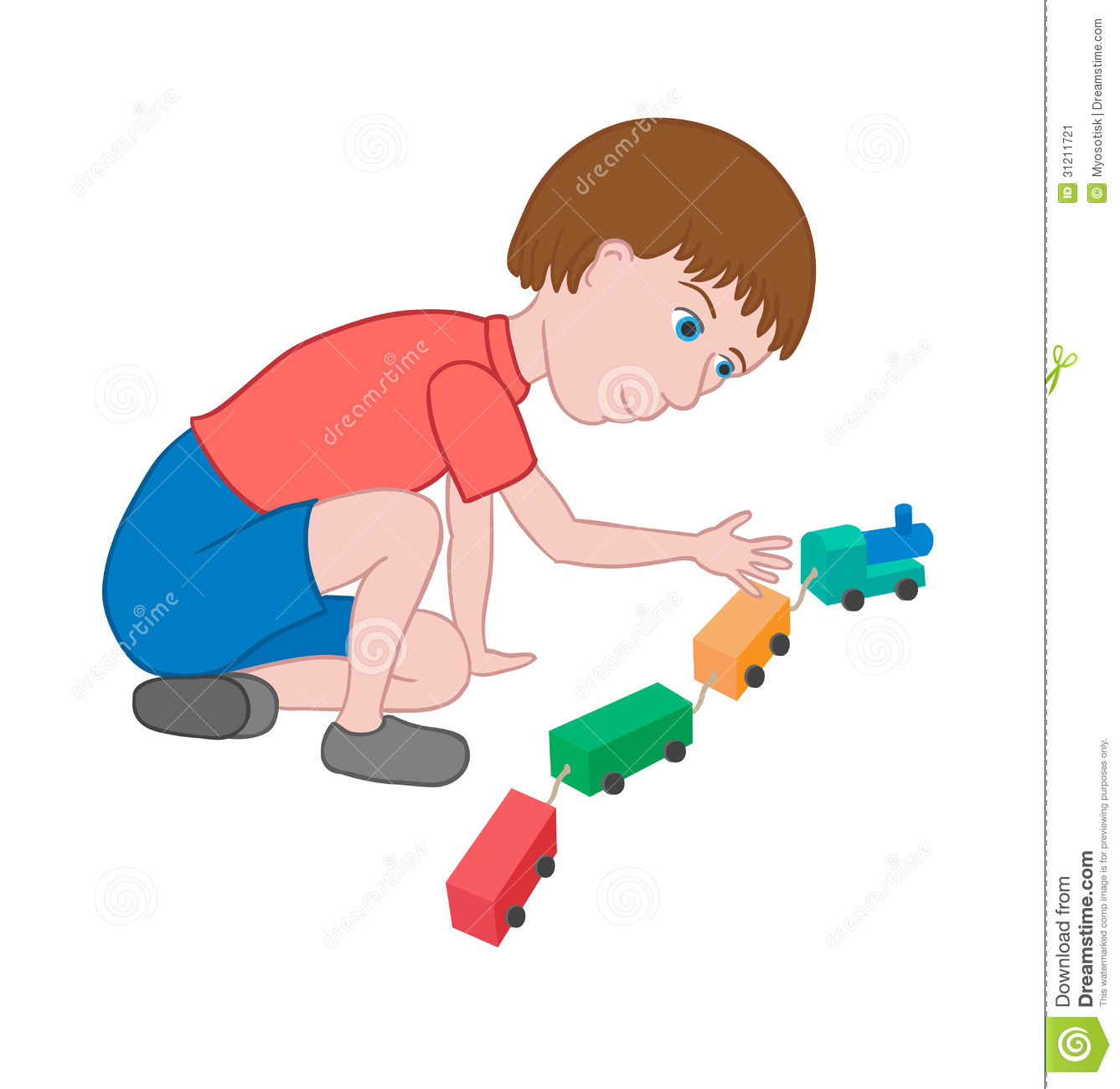Boy Playing With A Toy Train Stock Vector - Image: 31211721
