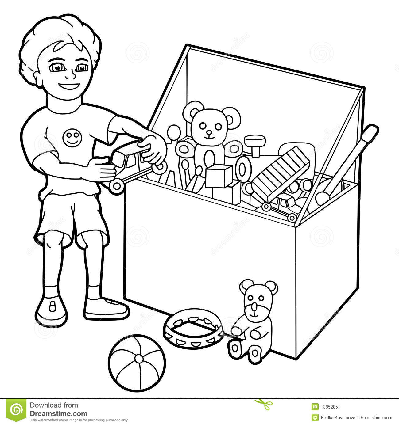 Free Clipart Black White Little Boy S Room