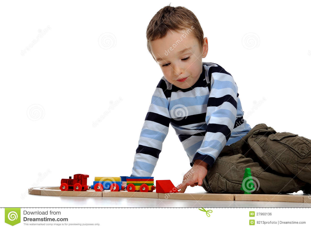 Boy Playing With A Train Set Stock Photo Image Of Look