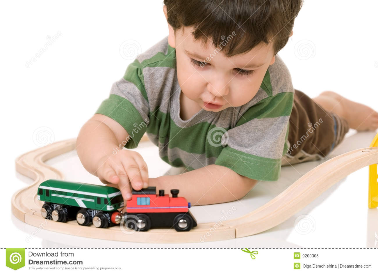 boy playing with a train set stock image image of. Black Bedroom Furniture Sets. Home Design Ideas