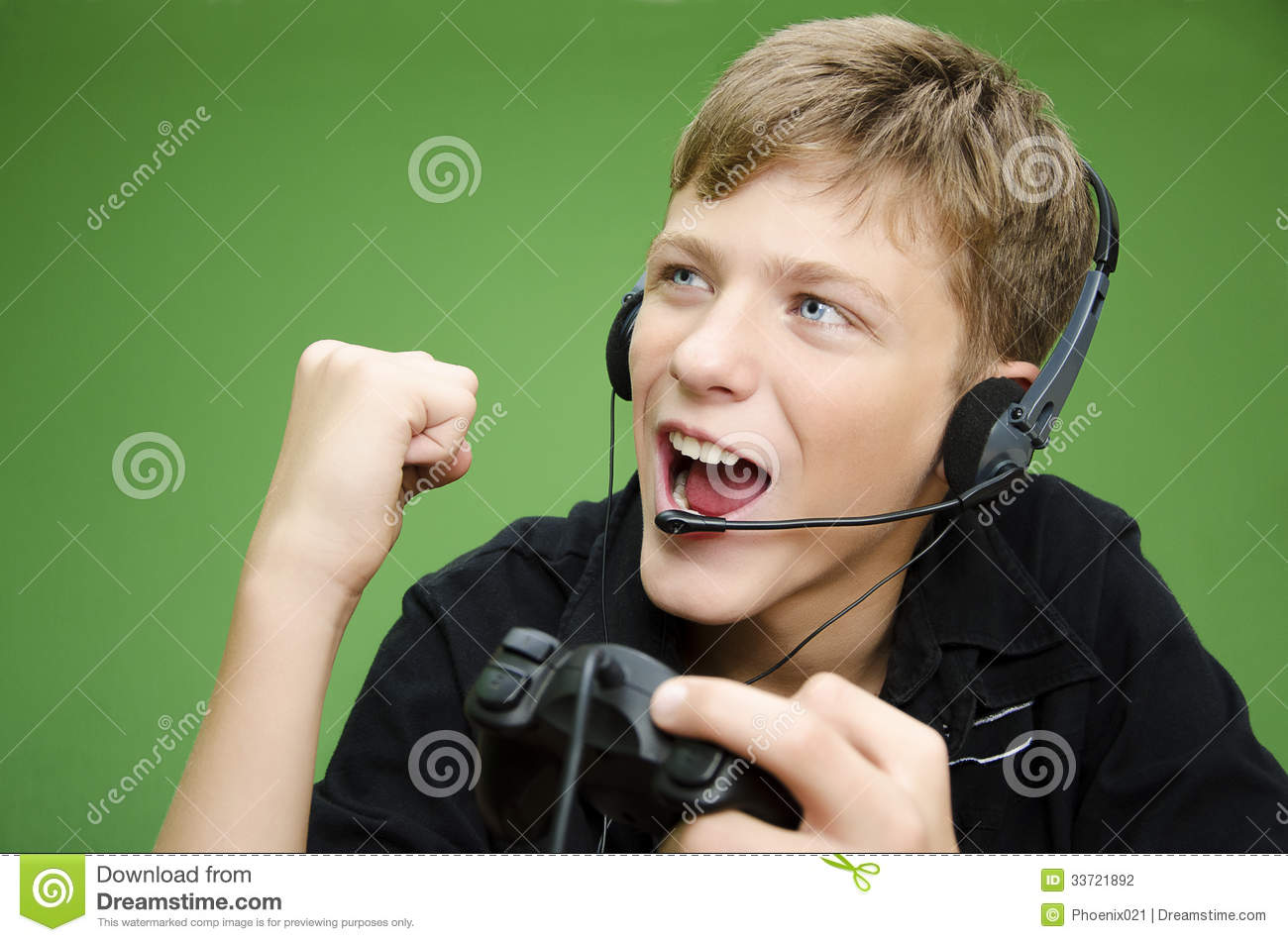 Boy Playing Video Games Win Stock Photo Image Of Green Computer
