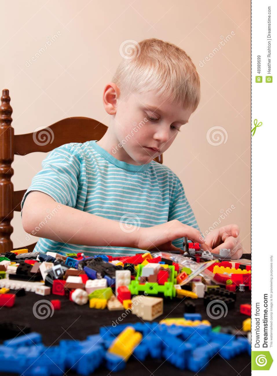 Boy Plays With Lego Stock Image Image Of Smart Happy