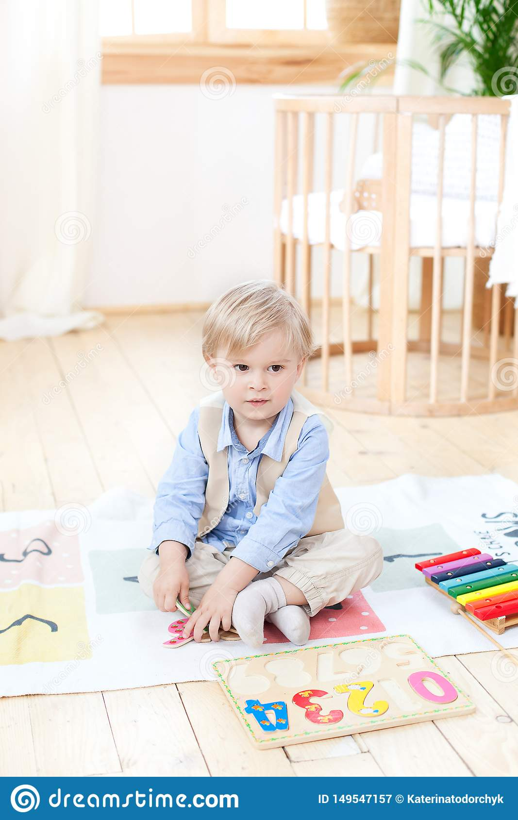 The boy plays with wooden toys at home. Educational wooden toys for the child. Portrait of a boy sitting on the floor in the child