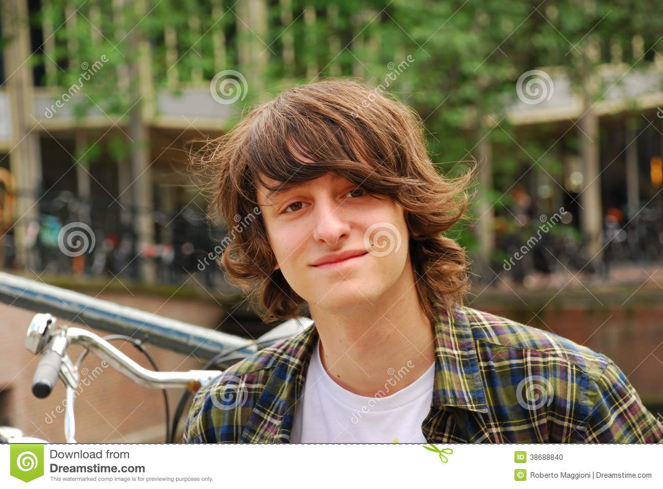 Boy Portrait 16 Years Old Teenager With Long Hair Stock