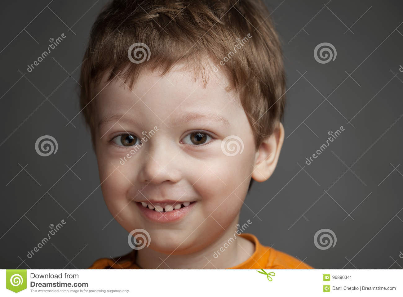 31956f41c Boy With Positive Emotions On A Gray Background, Child Smiles Ch ...