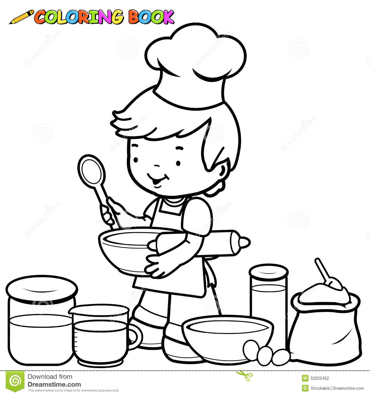 Boy Cooking Coloring Page Stock Vector Image Of Utensils