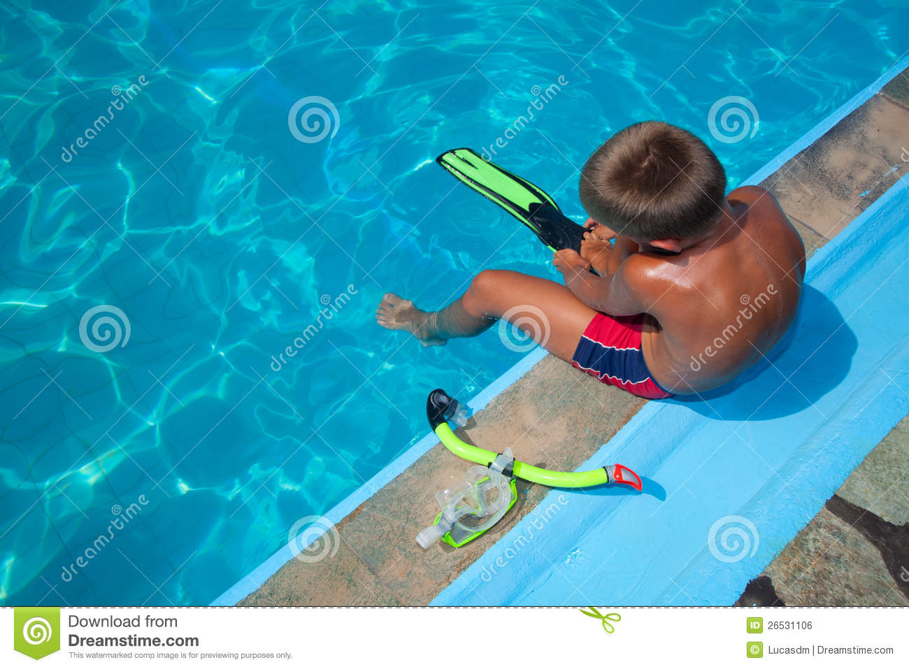 Boy Preparing To Dive Into Pool 2 Stock Photo Image Of