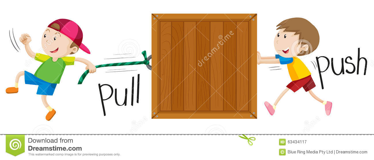 Boy pulling and pushing wooden box