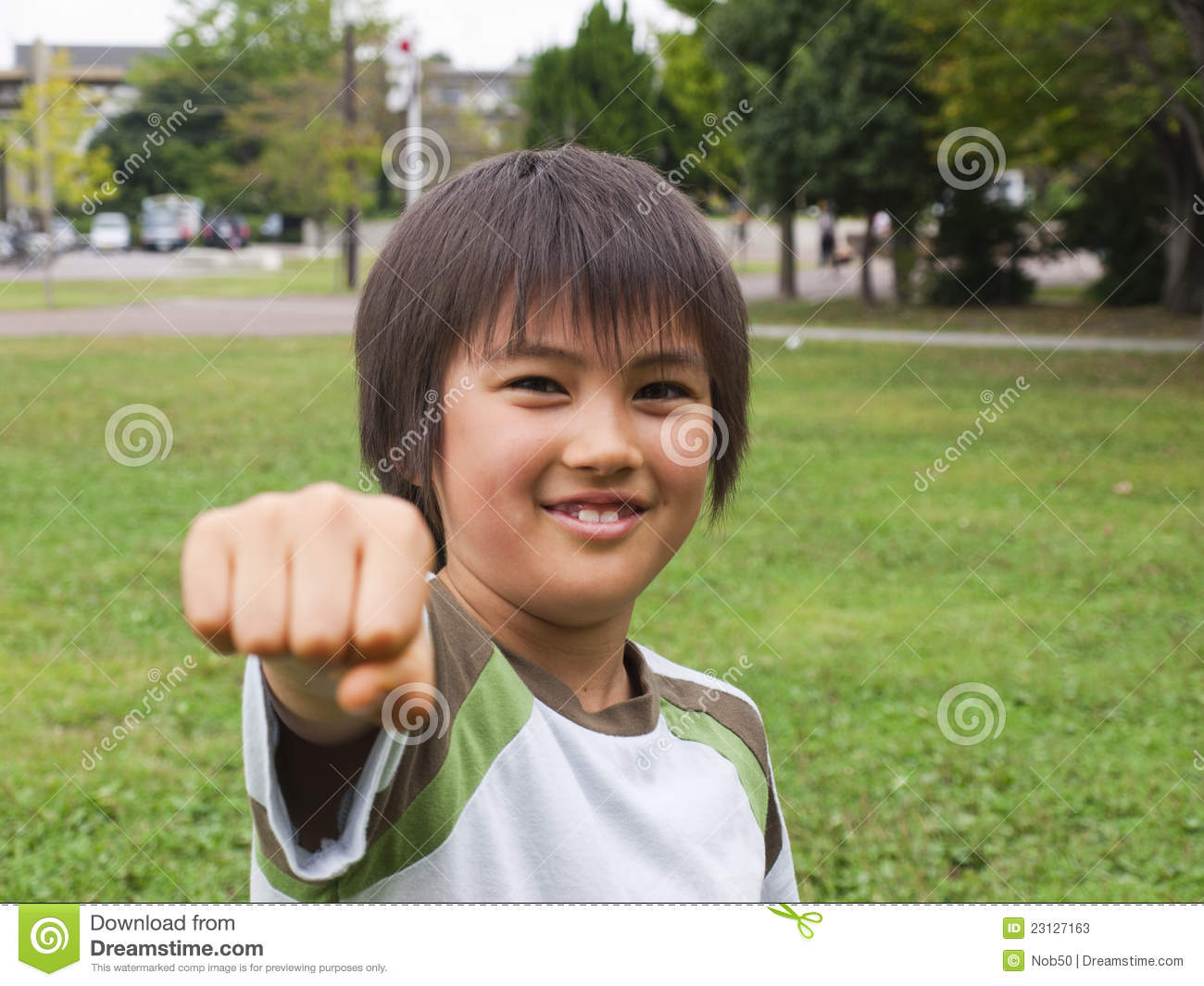 Asian boy fist