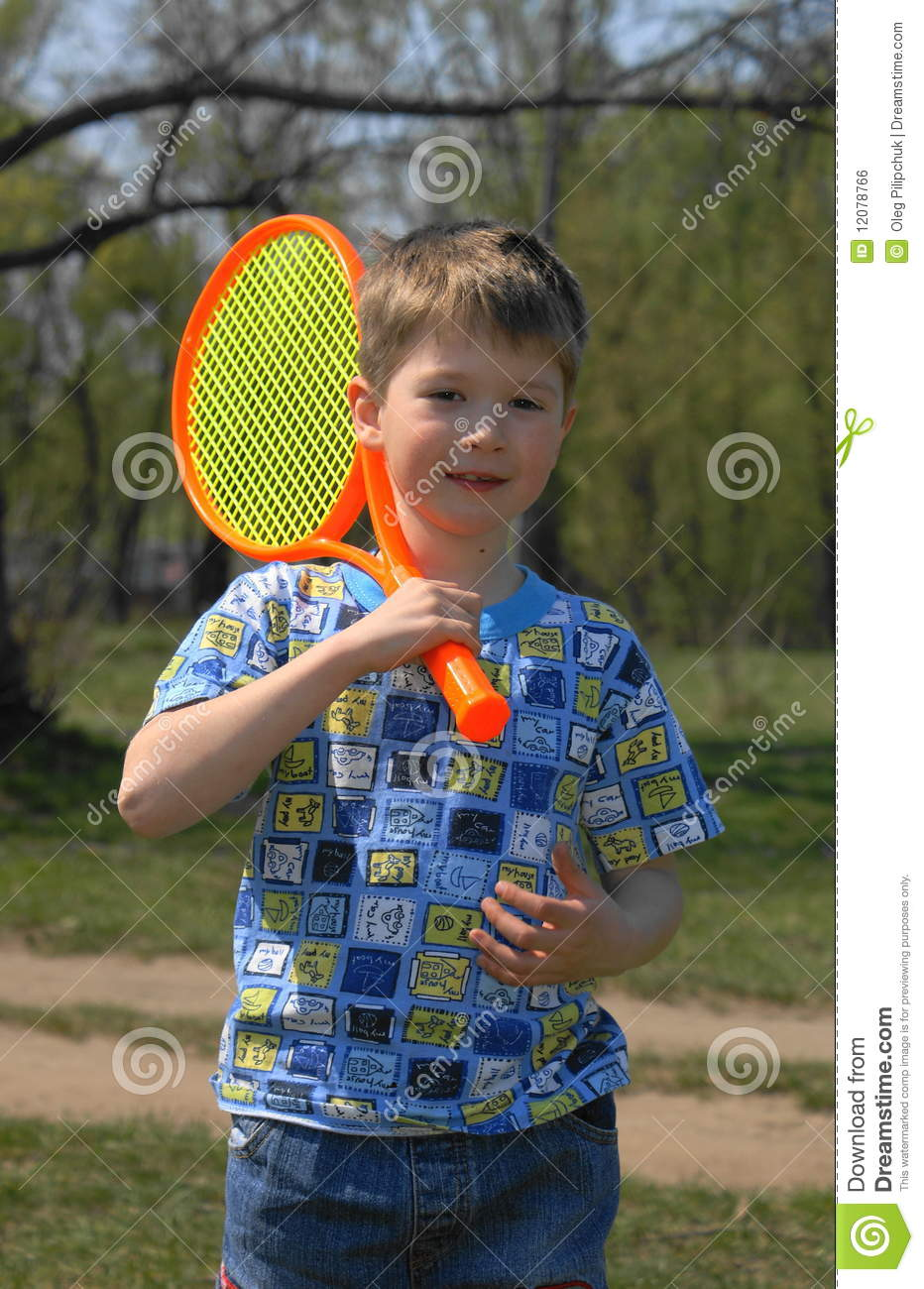 Boy with racket stock photo. Image of boys, cute, hands ...