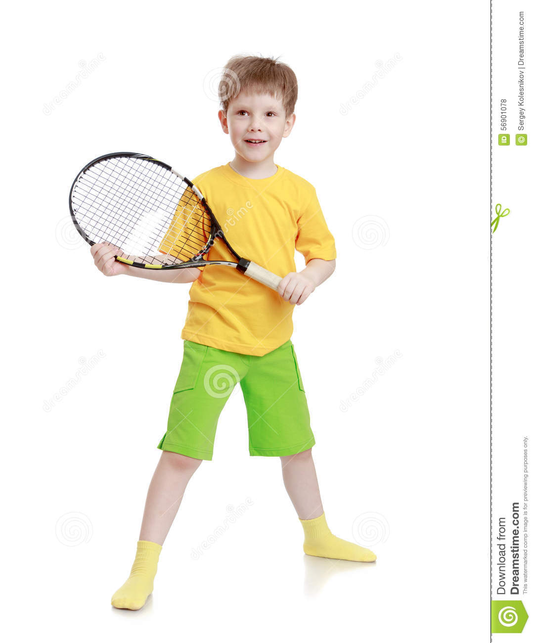 Boy with racket in hand stock photo. Image of player ...