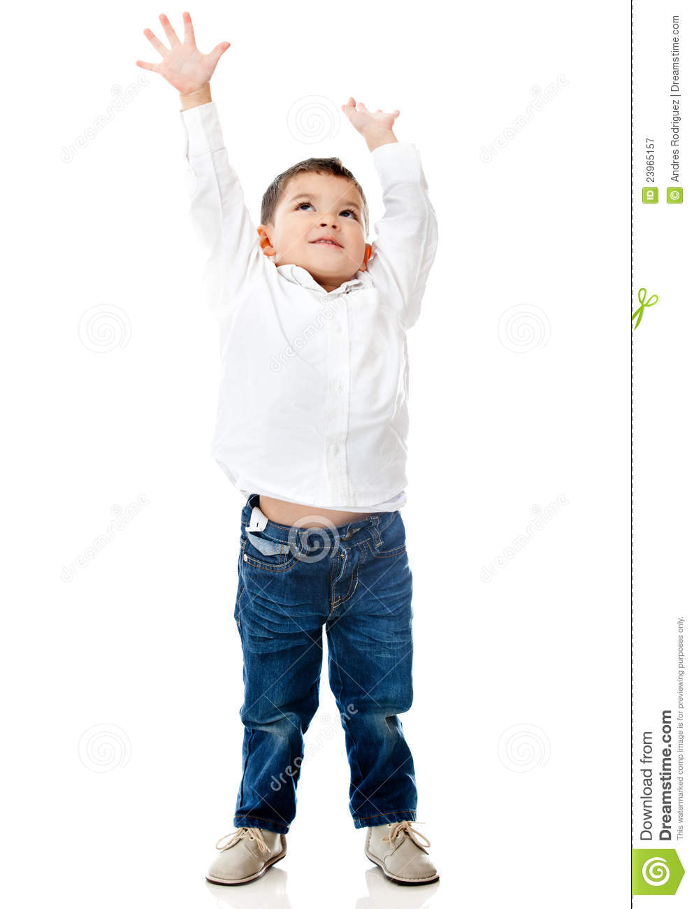 Boy Reaching Ceiling Royalty Free Stock Photography - Image: 23965157