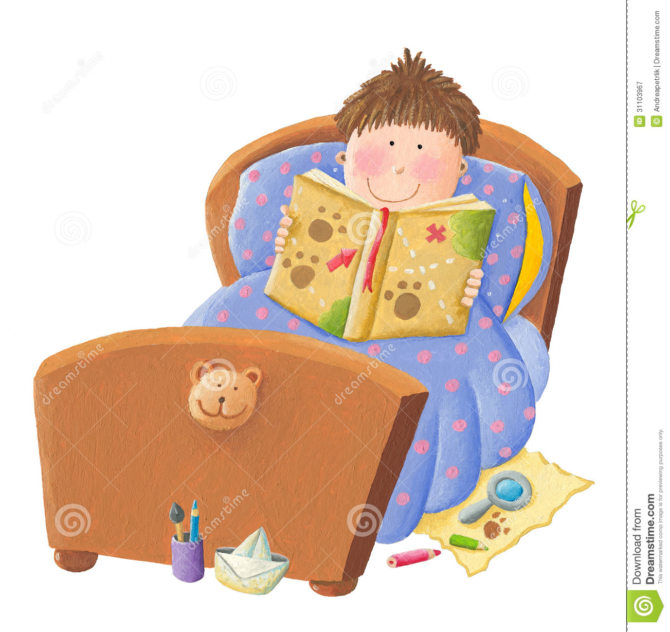 Boy reading bed time story royalty free stock photography image