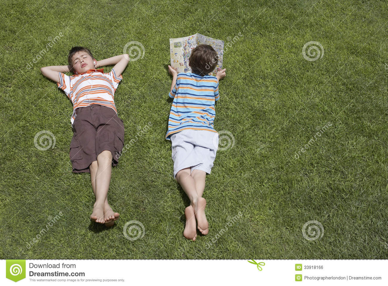 ... Asleep Brother On Grass Royalty Free Stock Image - Image: 33918166