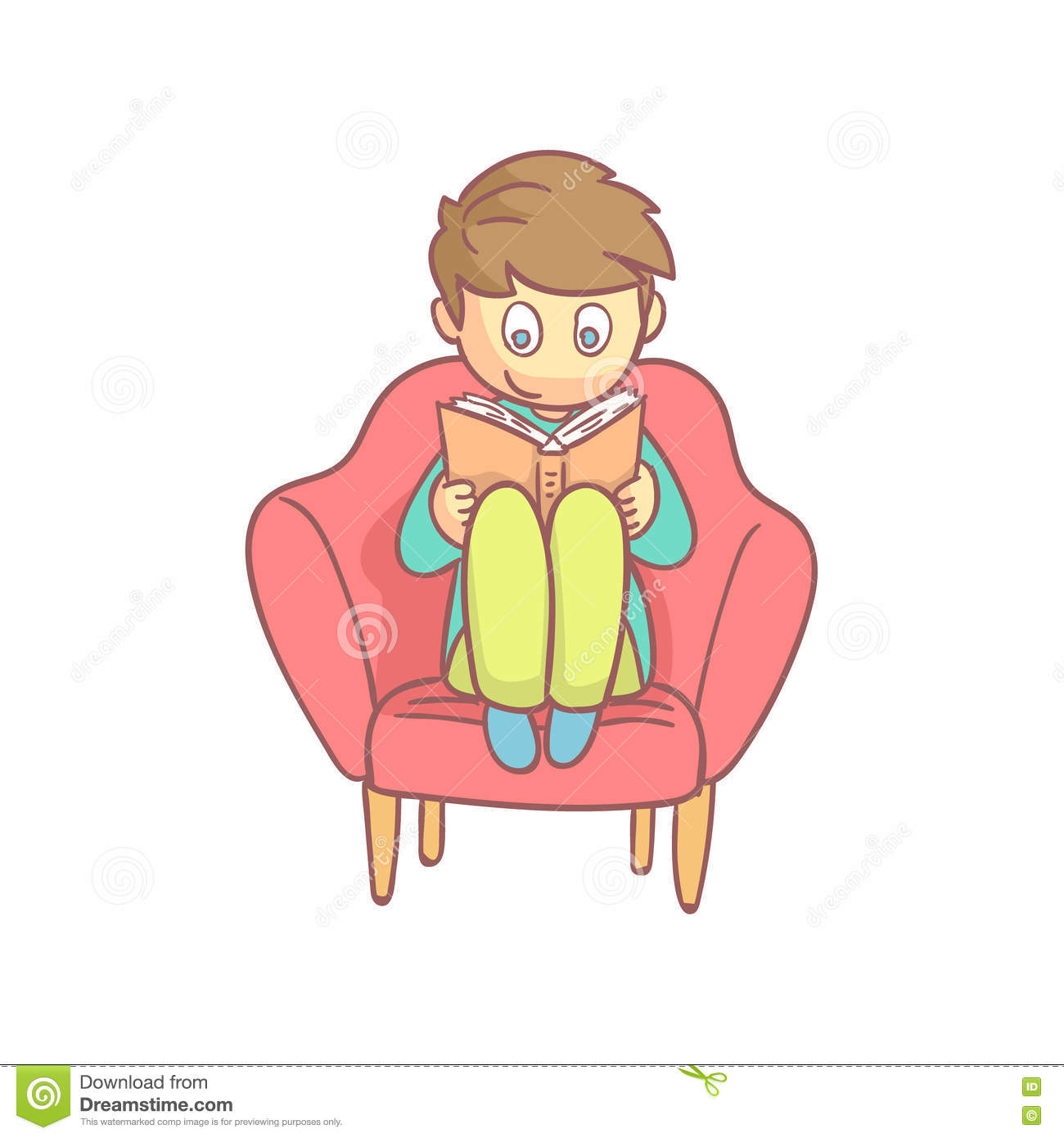 Boy Reading A Book In The Armchair Stock Vector ...