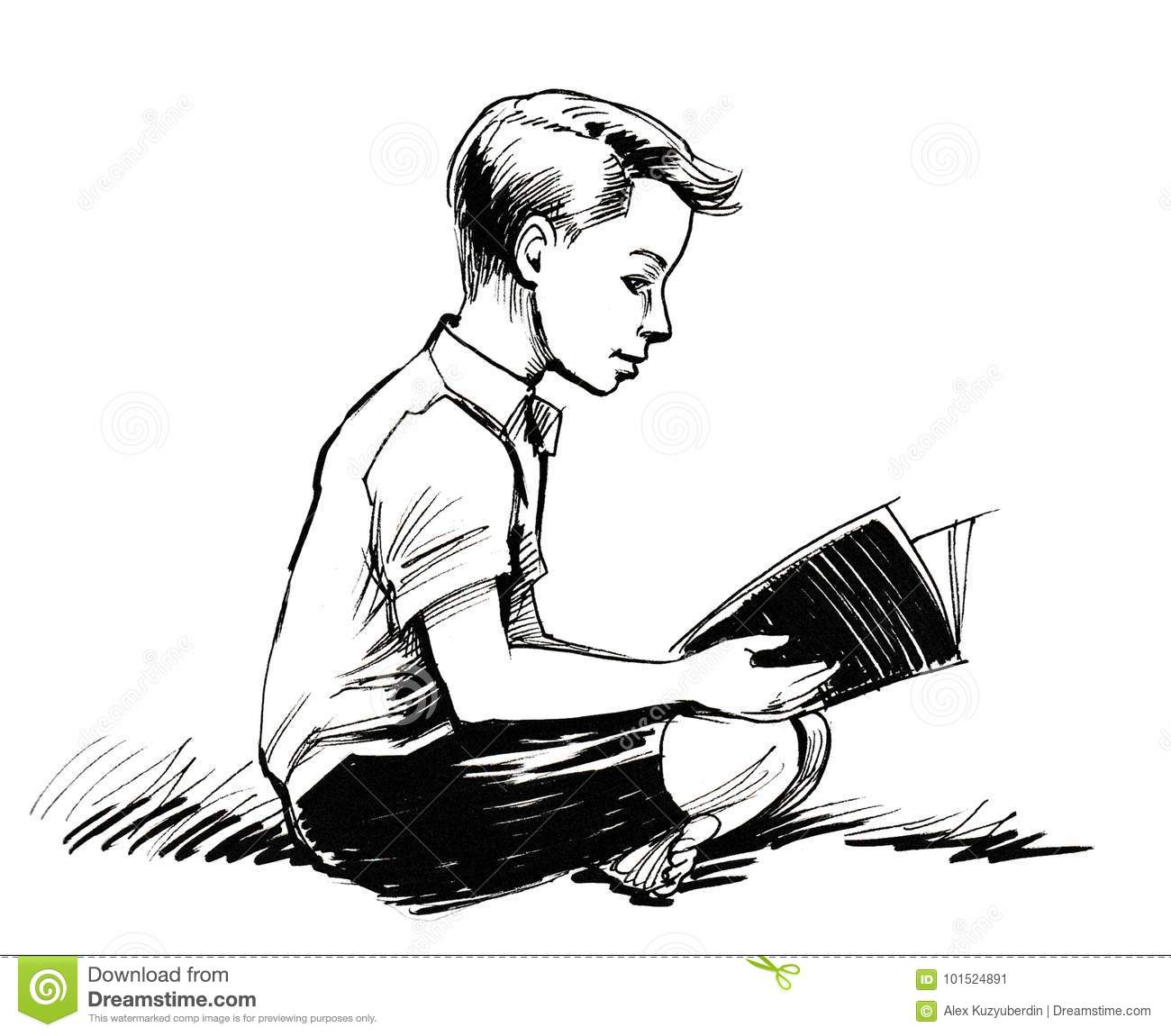 Boy Reading A Book Stock Illustration Illustration Of