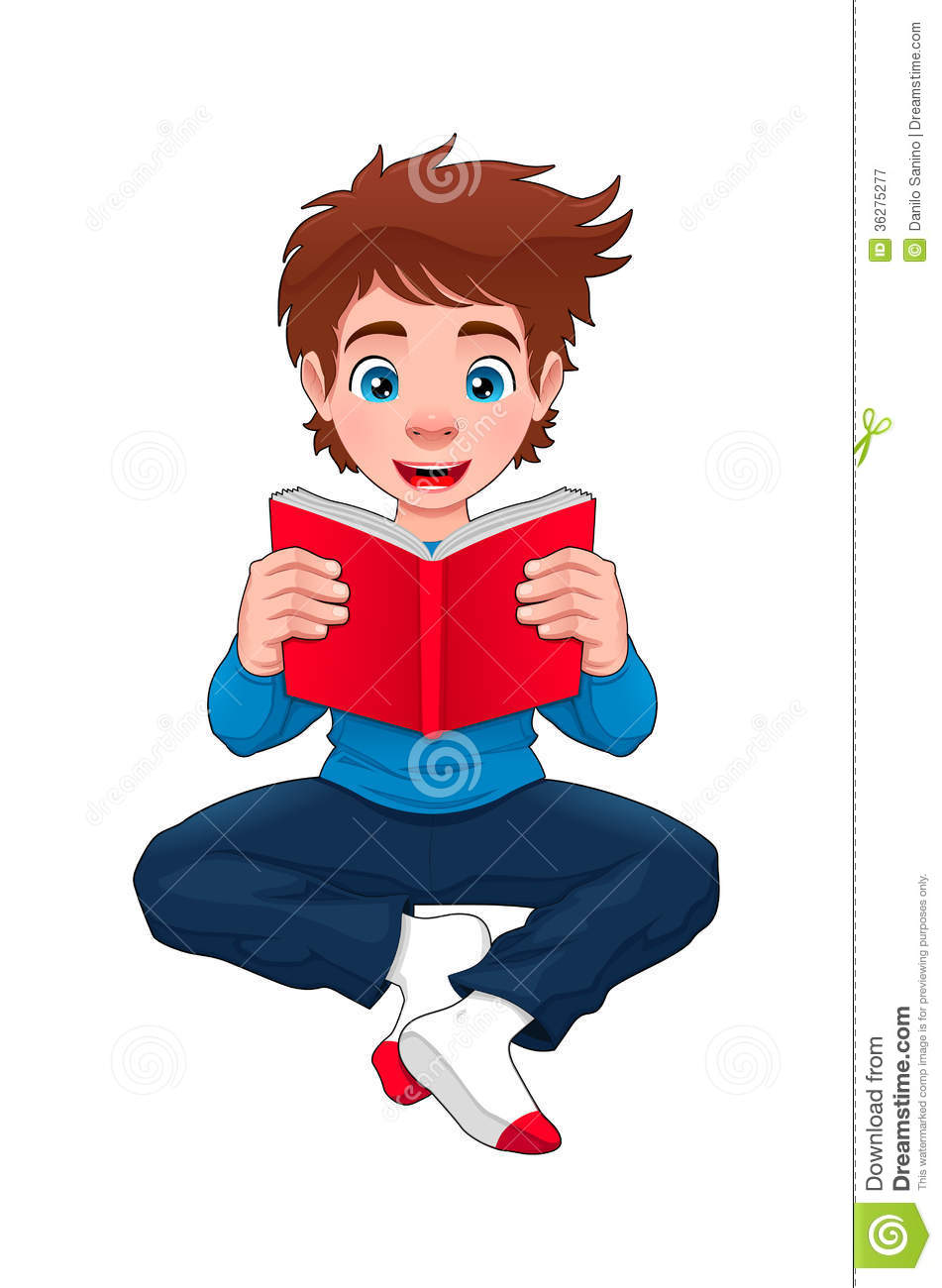 Cartoon Characters Reader : Boy is reading a book stock vector image of read