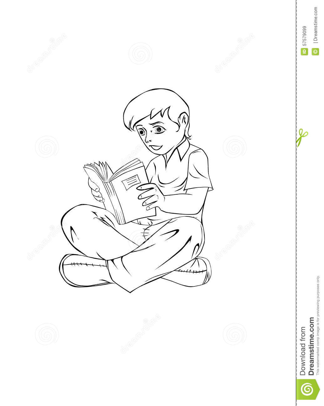A boy reading a book sitting on the floor with outlined border for coloring purposes