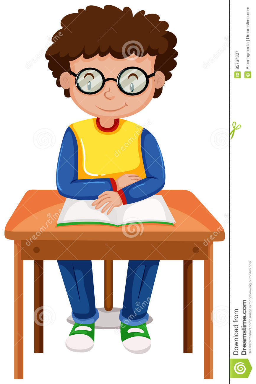 boy reading book on the table stock vector - illustration of