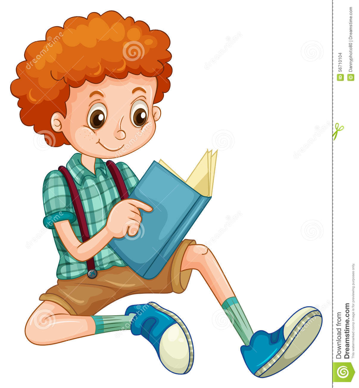 Cartoon Characters With Curly Hair : Boy reading stock vector illustration of