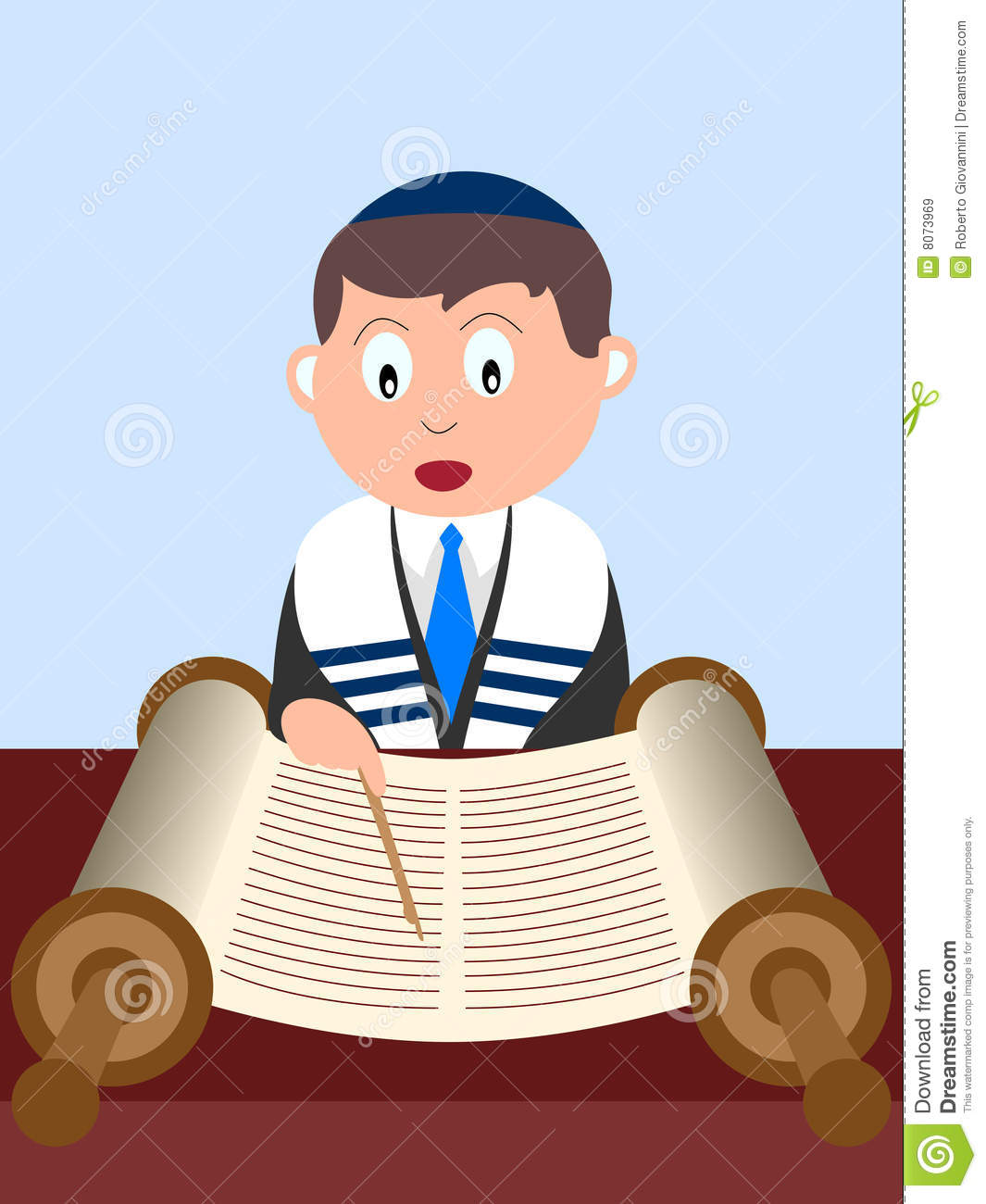 Boy Reading The Torah Stock Vector. Illustration Of Celebration