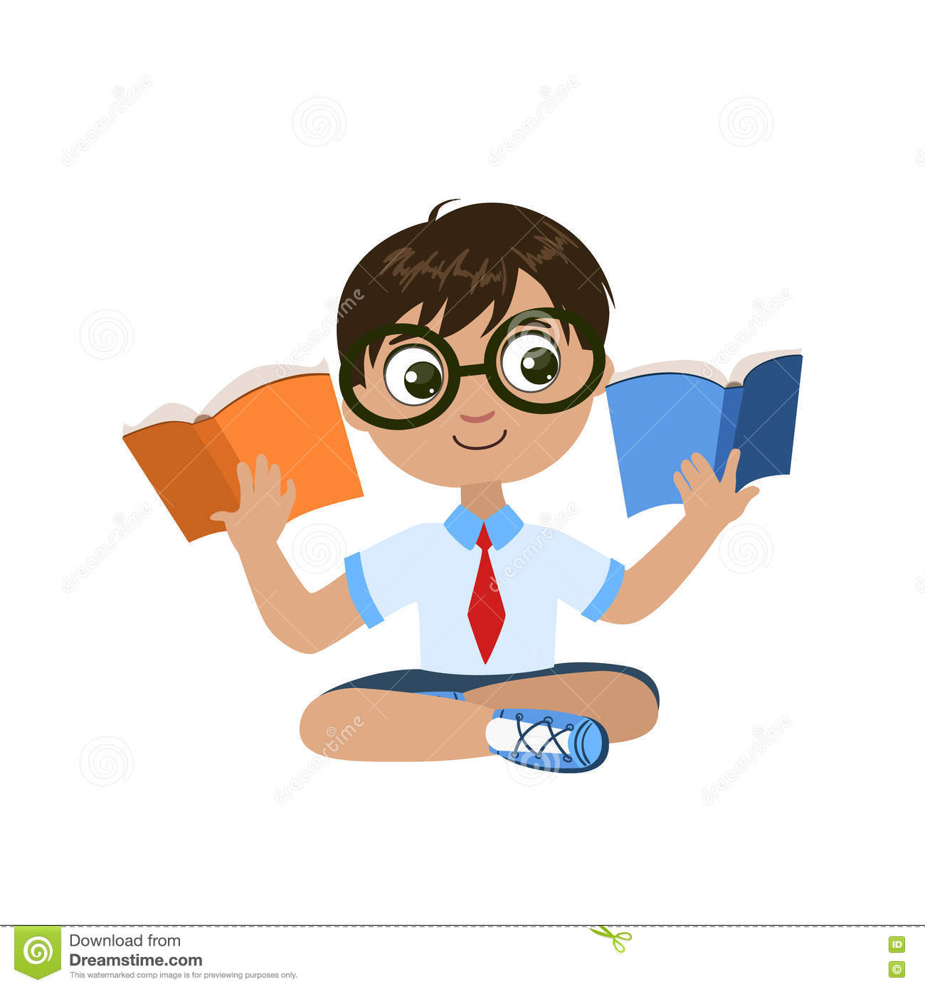 Boy Reading Two Books At The Same Time Stock Vector ...
