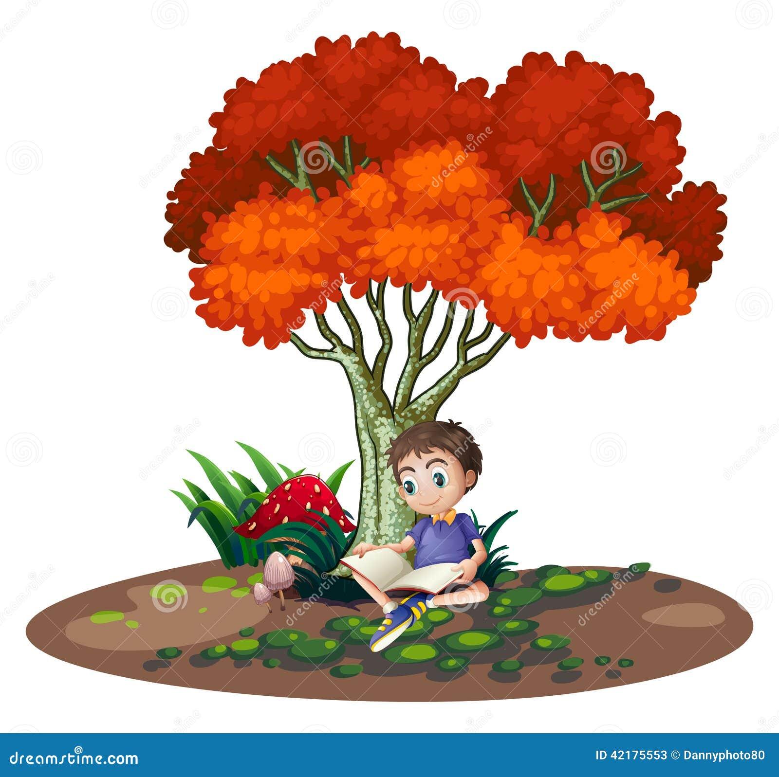 Boy Reading Under Tree Stock Illustrations 68 Boy Reading Under