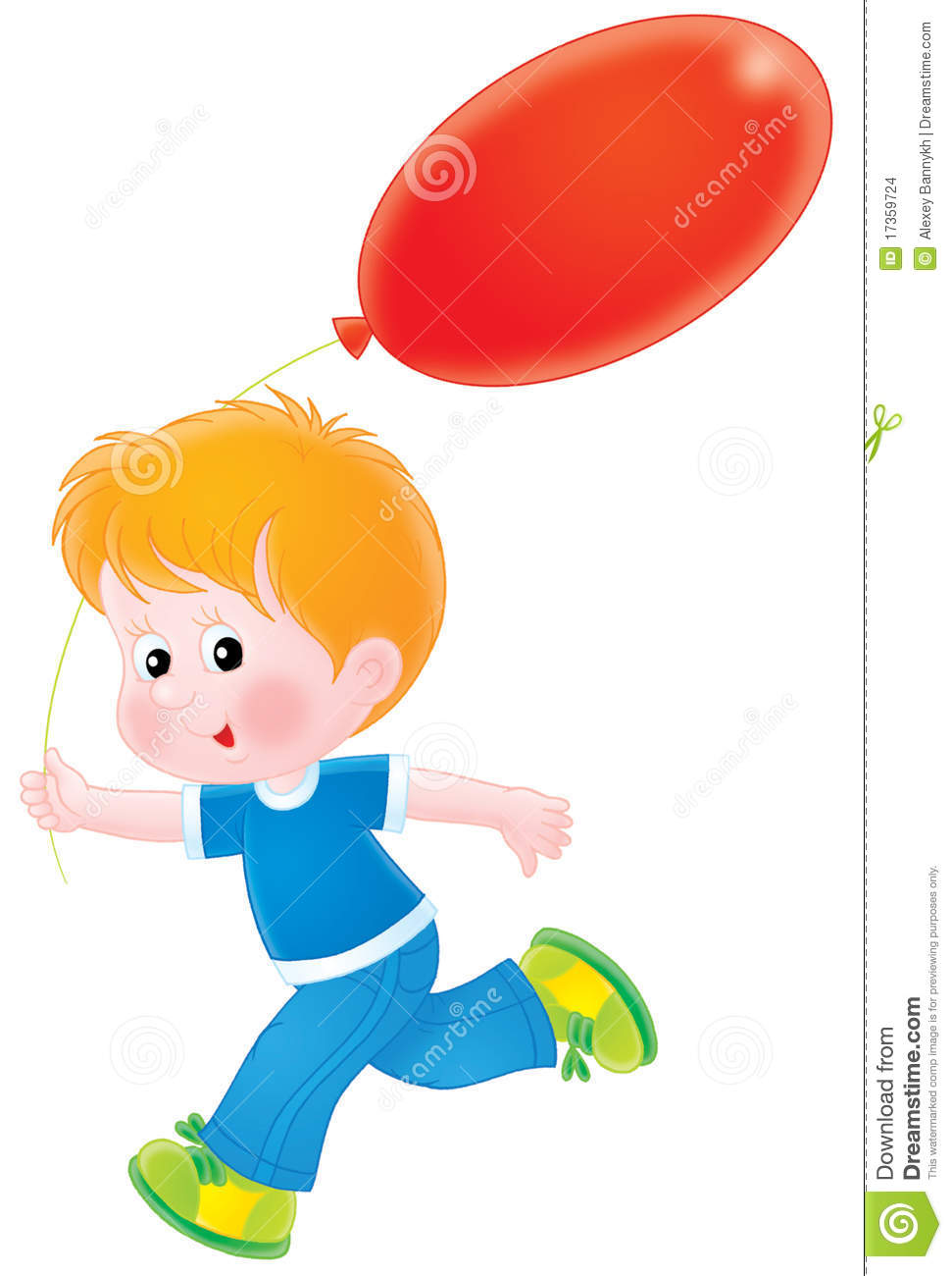 Isolated clipart illustration of a red-haired boy running with a red ...